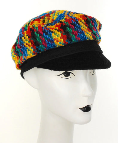 Colorful Tweed cap with black peak