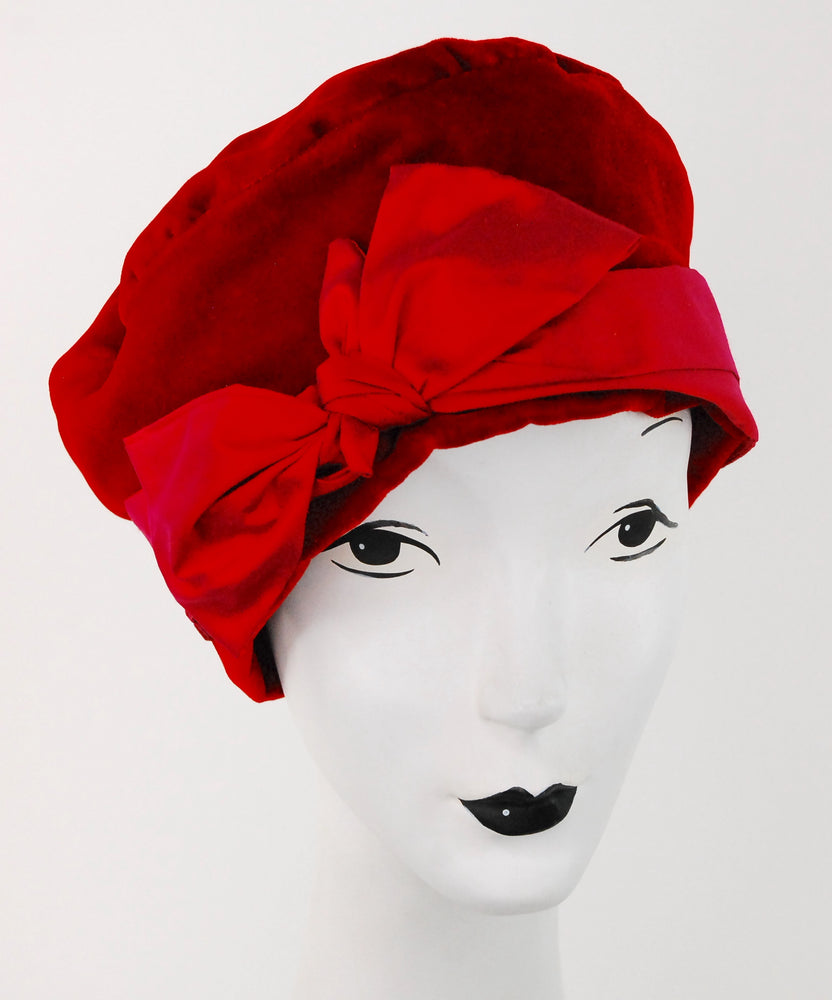 Red velvet beret with red silk bow detail