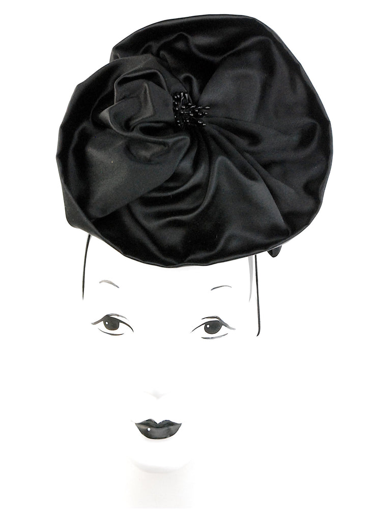"""In Bloom"", black silk headpiece with details"