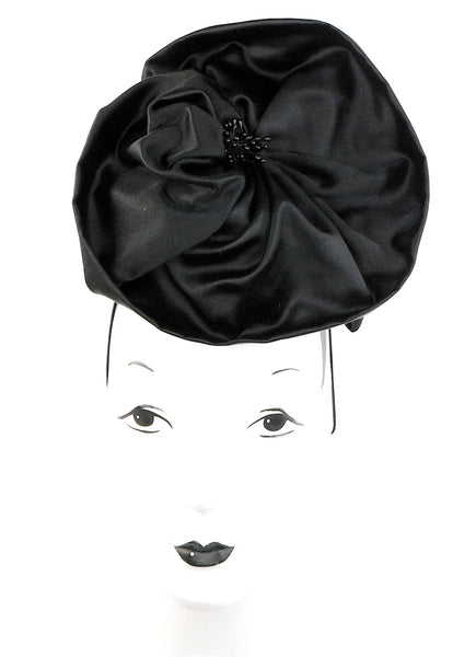 """In Bloom"", black silk headpiece with details - mariacurcic - 1"