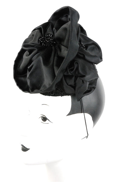 """In Bloom"", black silk headpiece with details - mariacurcic - 2"