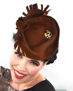 brown sculpted headpiece in wool