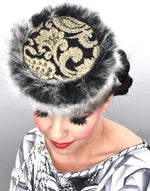 Pillbox hat with fun fur Jackie O style