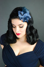 headpiece is made of lace and a stunning blue vintage straw that was imported  from Paris. Attaches with clips