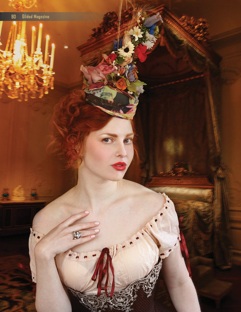 High crown pillbox hat with flowers, art to wear