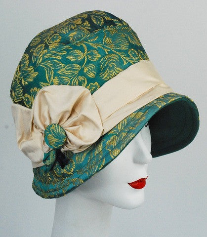 Green and gold embroidered satin cloche/flapper  hat with ivory silk band - mariacurcic