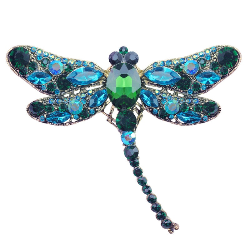 Large green dragonfly brooch