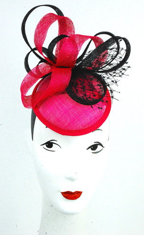 Hot pink headpiece with black trim - mariacurcic