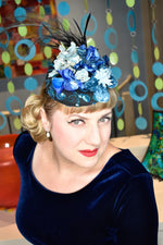 Blue headpiece with vintage velvet flowers and feathers