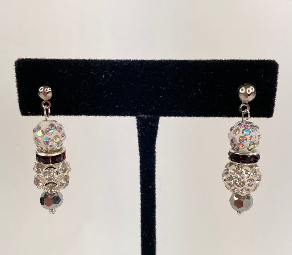 Crystal ball with red rhinestones and silver bead