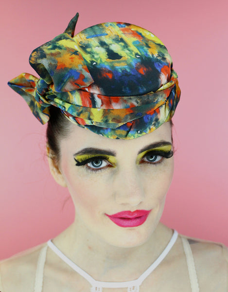 Jackie O pillbox made in 100% silk print