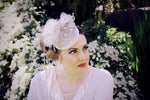 Wedding headpiece with rhinestone appliqué