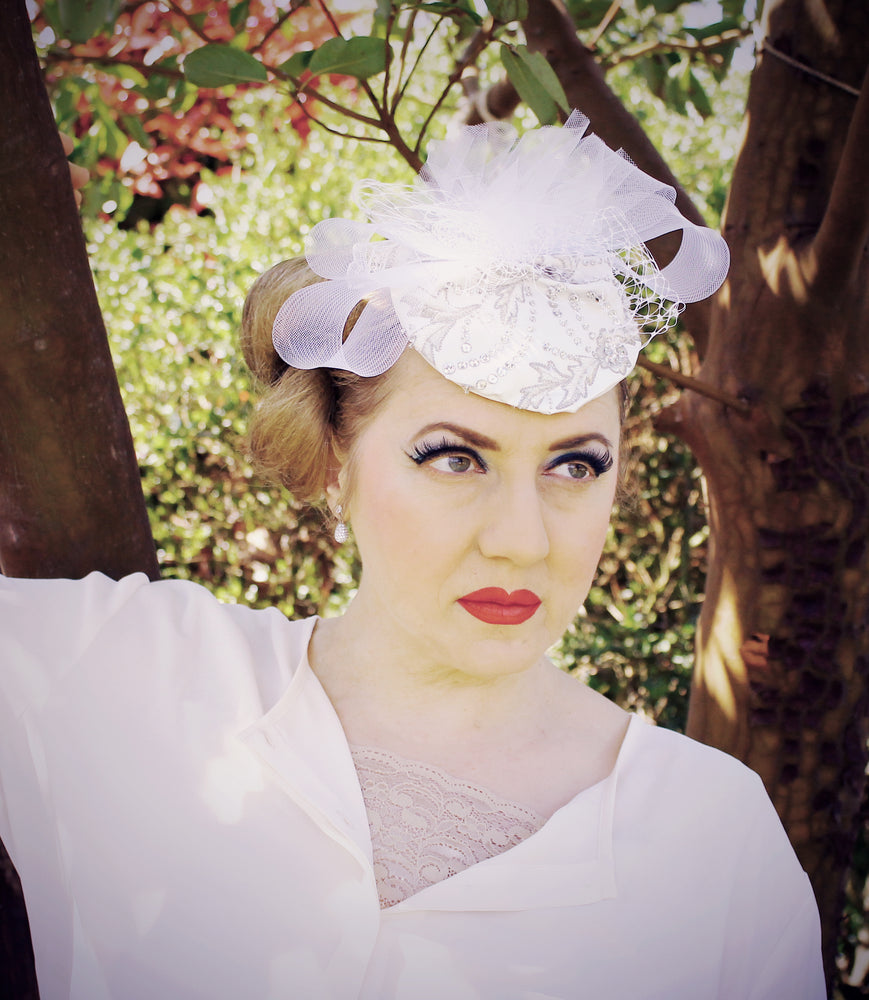 White wedding satin headpiece with tulle and beading