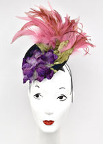 Feathery sculpted wool percher hat with trims