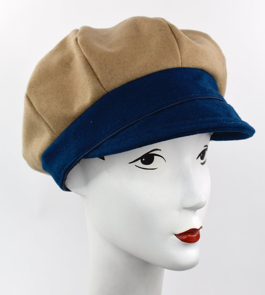 Camel and royal blue  wool cap