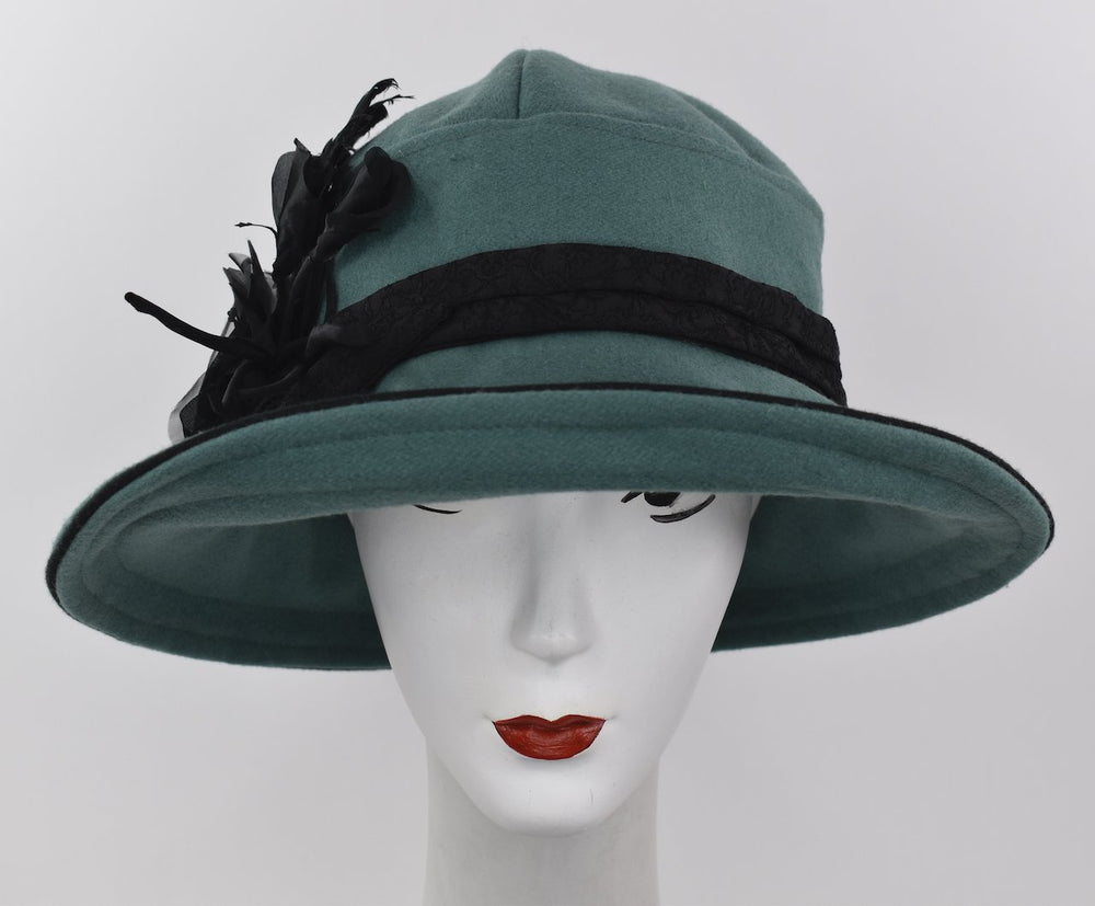 Green wool cloche hat with silk flower