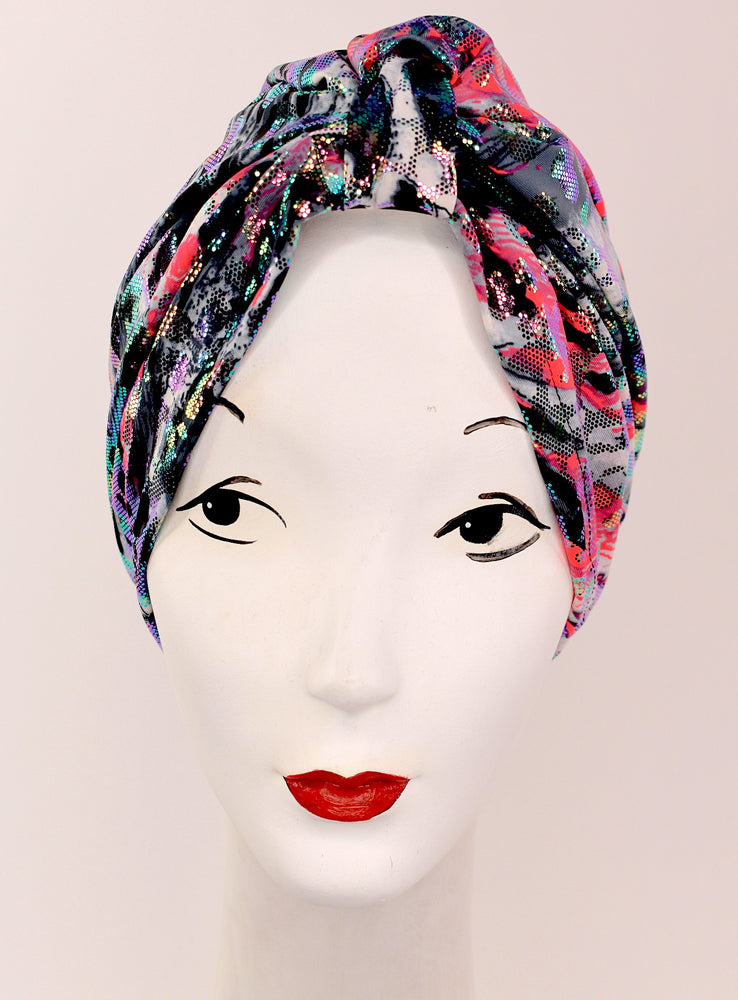 Turban disco shine print, very retro pinup!