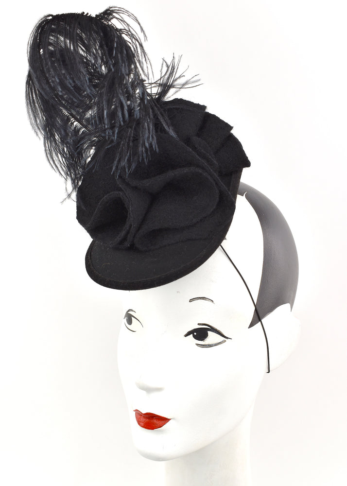 Black wool sculpted headpiece with black feathers