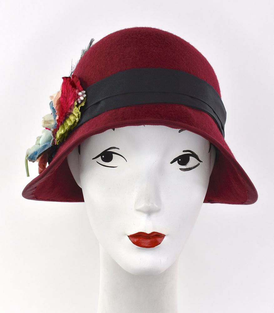 Burgundy wool flapper cloche hat with velvet flowers