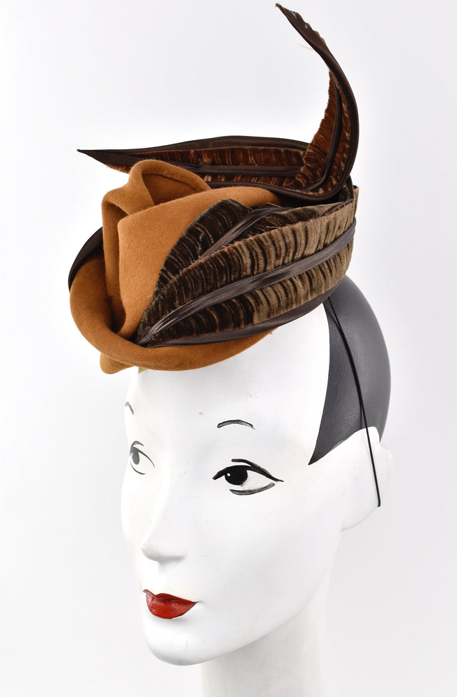 Free form sculpted wool percher hat/headpiece with velvet trim