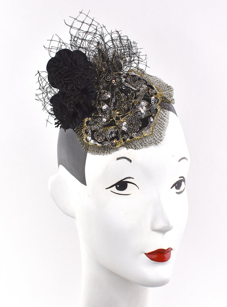 Sequins headpiece/fascinator with velvet flowers and netting