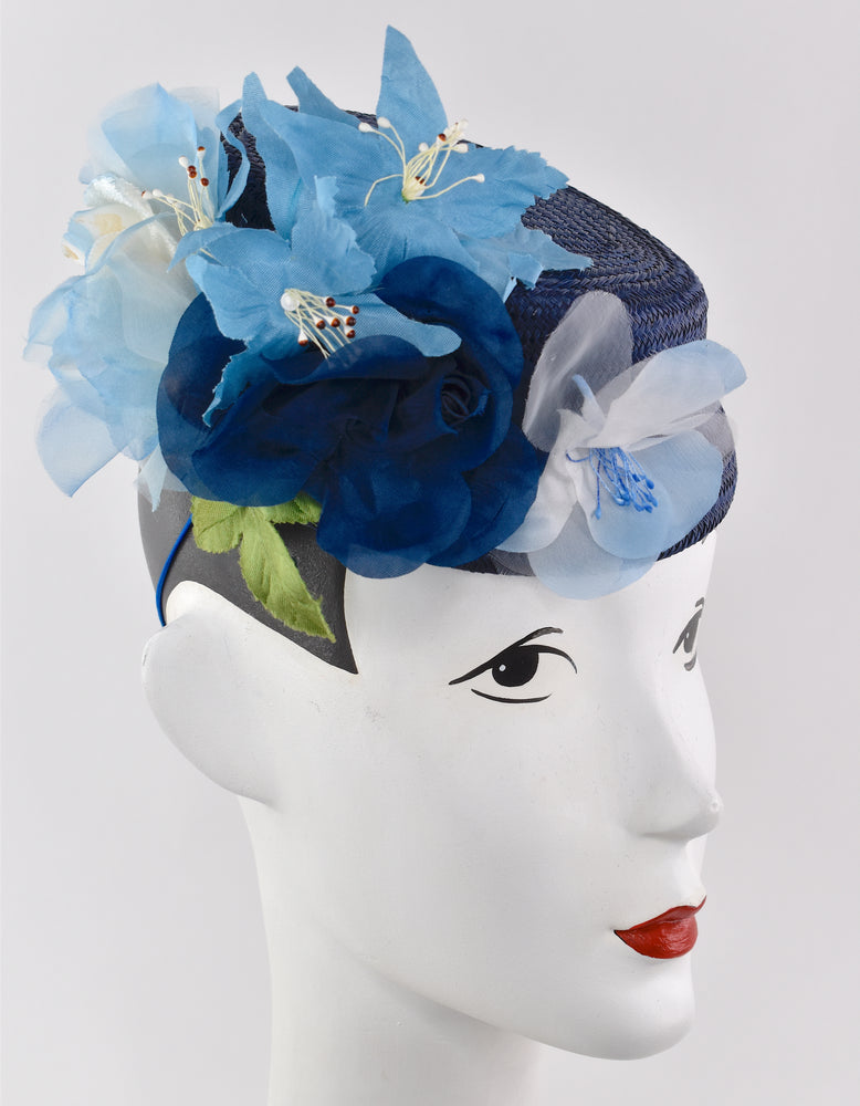 Navy blue buntal straw with large flower
