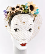 Chenille spotted netting on headband with boho chic vintage flowers
