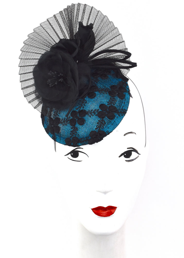 Blue and black stylish ascot/derby/high tea/special event headpiece