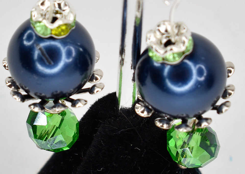Blue and green bobble earrings