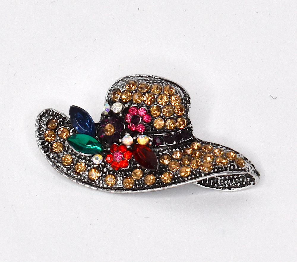 Cute little hat brooch with rhinestones