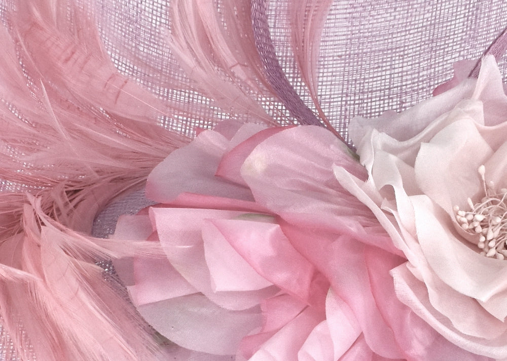 Light pink sinamay headpiece with silk flower and feathers for racing/derby fashion/wedding