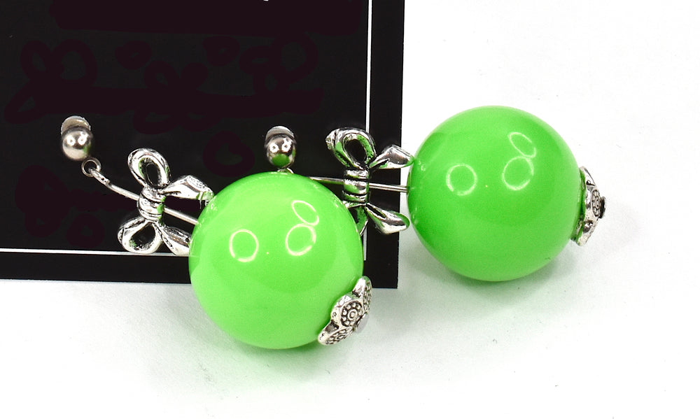 Retro 80's inspired green bobble earrings