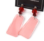 Retro 80's inspired red stripe dangle earrings