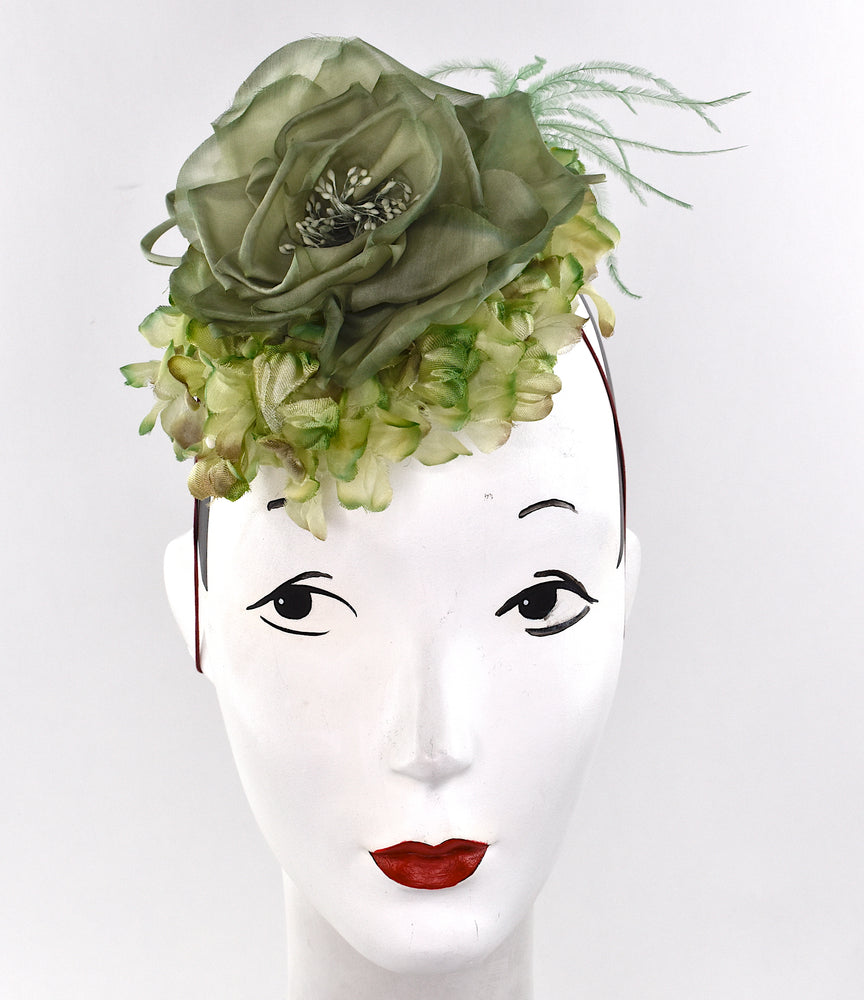 Green headpiece for wedding, ascot, or derby