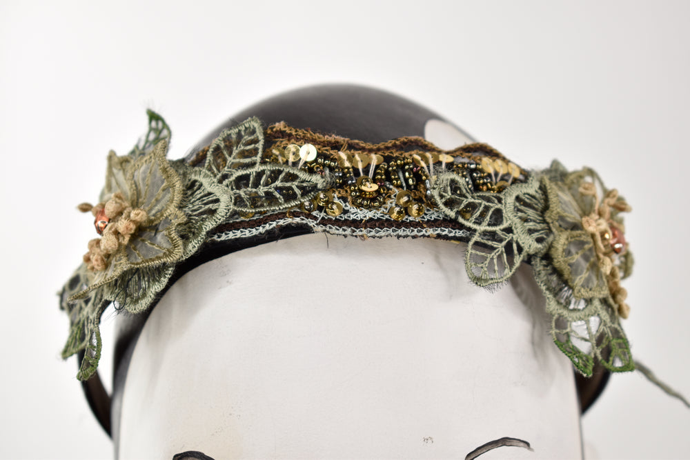 Green lace and beads headband
