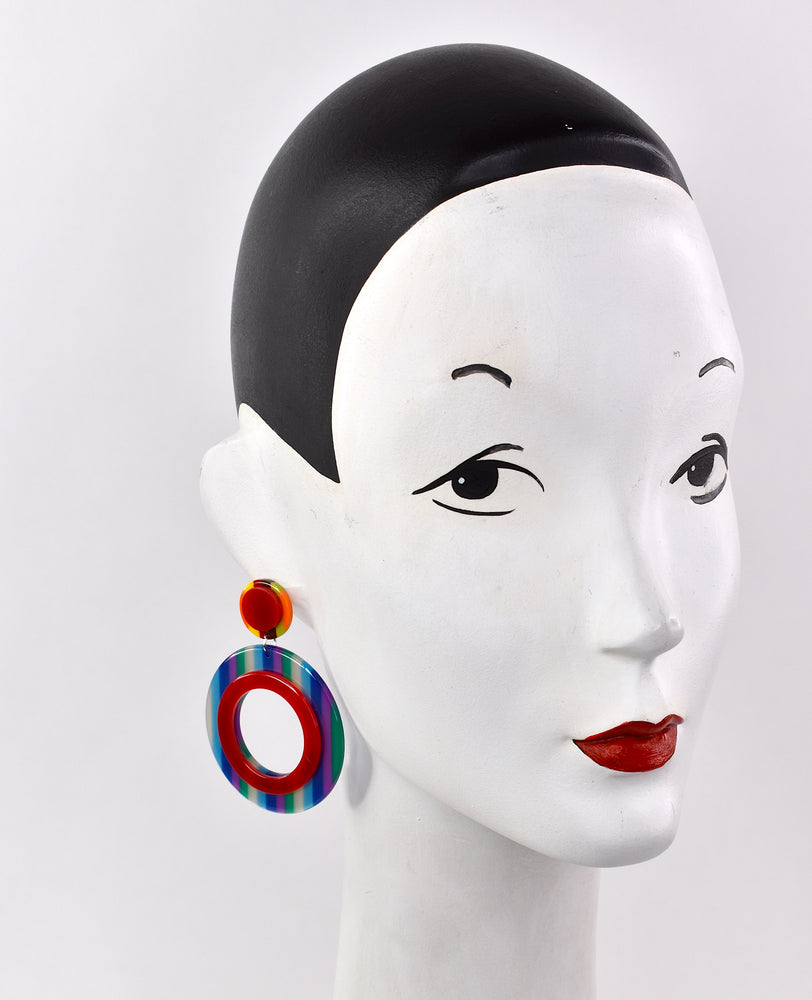 1960's inspired large colorful hoops earrings