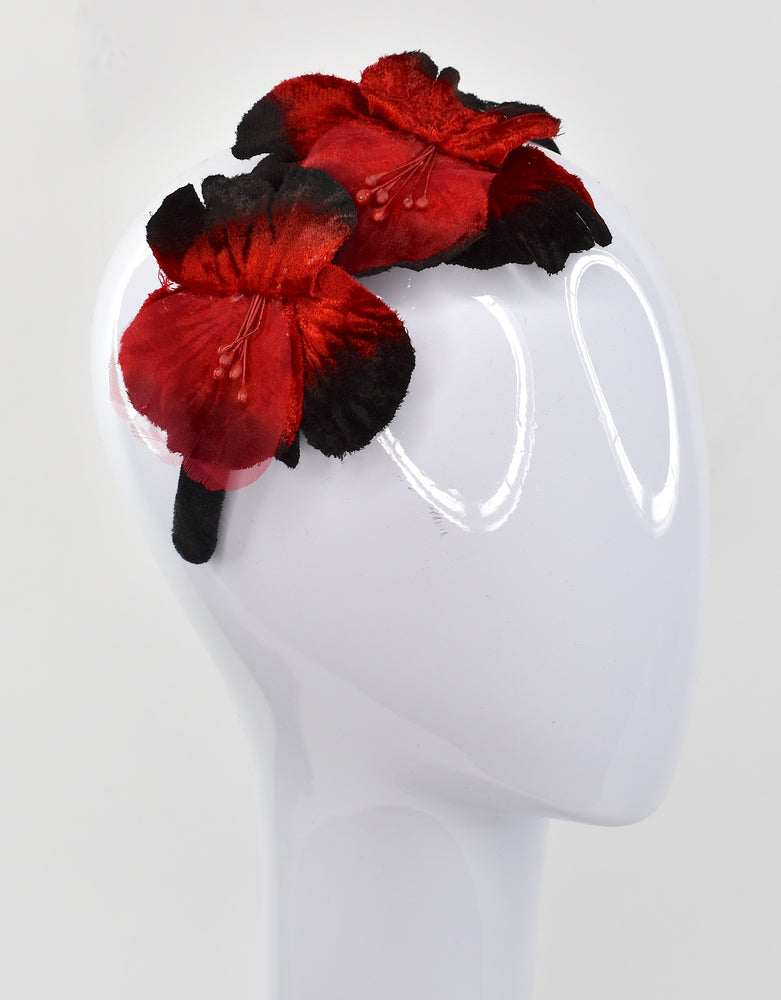 Red velvet flowers on velvet headband