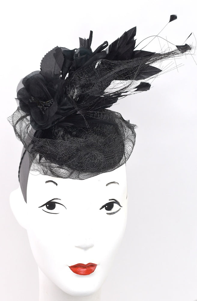 Black headpiece with silk flowers and horsehair ribbon detail