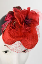 Red Heart shaped parisisol straw with a red silk flower and red netting.