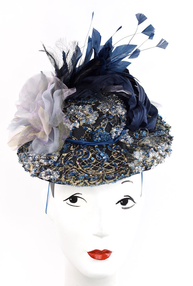 Stunning headpiece boater style with beading