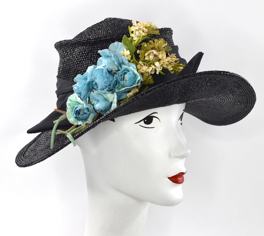 Black hand blocked Italian straw  hat with vintage flowers
