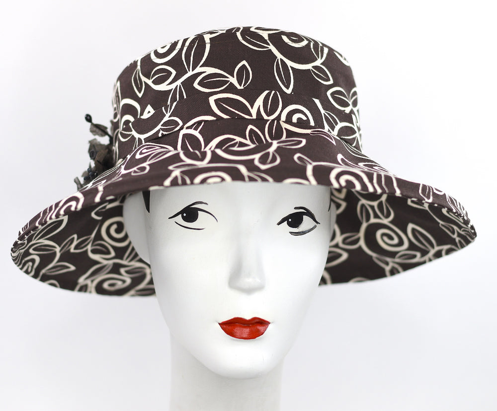 Brown swirl print large brim garden hat