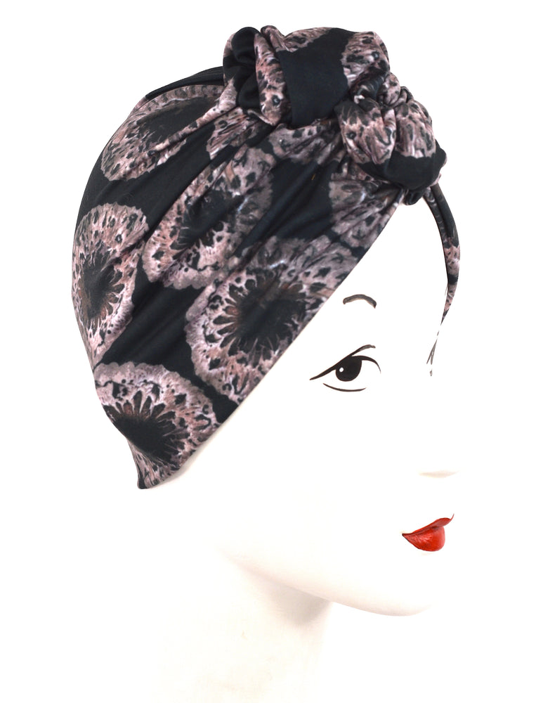 Turban  in abstract organic print very retro pinup!