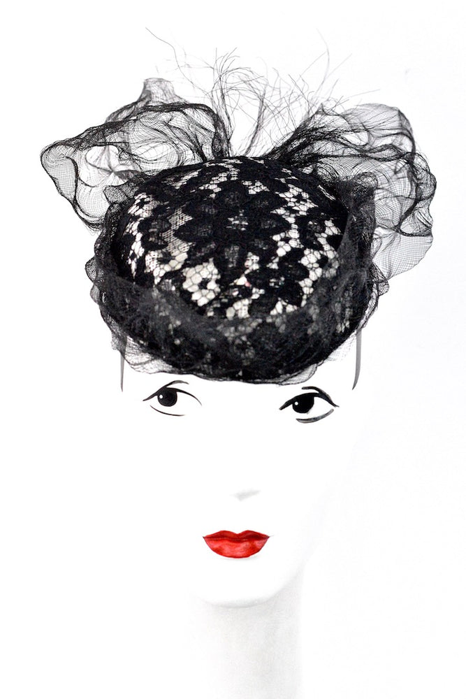 Ivory sinamay hat with black Lace