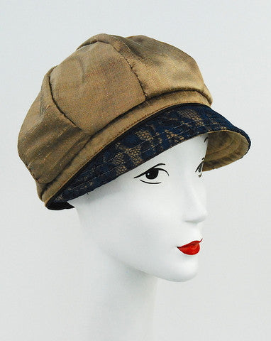 Taupe silk cap with navy lace