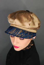 handmade Taupe silk cap with navy lace