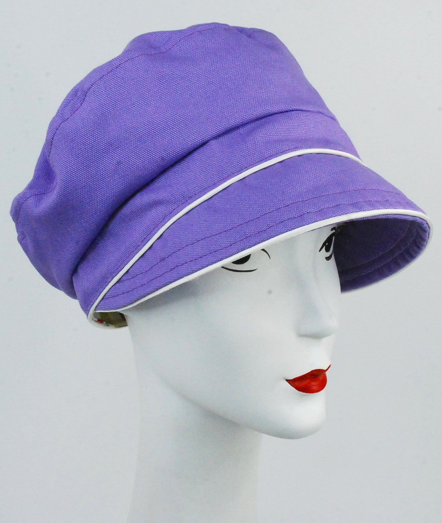 Violet organic handmade cotton cap with ivory trim