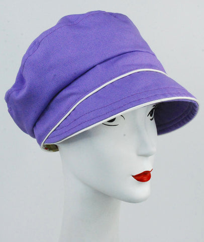 Violet organic cotton cap with ivory trim