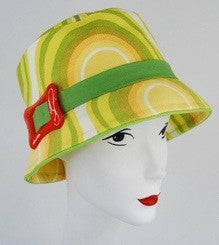 b23ea0e384e This hat  An original hand made bucket hat in yellow and green with orange  buckle.