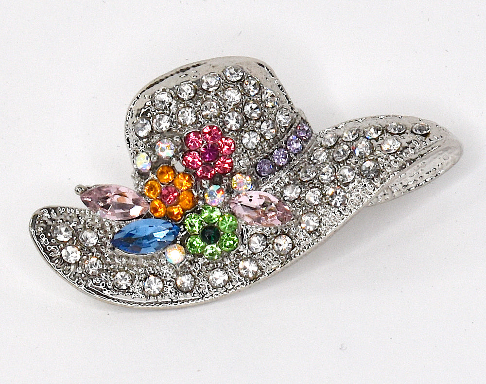 Cute little hat brooch with rhinestones in silver color
